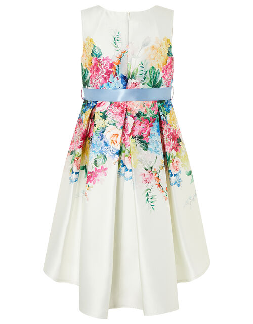 Floral Print High-Low Dress, Ivory (IVORY), large