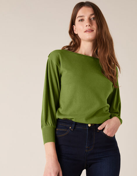 Braid Trim Longline Jumper with Recycled Nylon Green, Green (GREEN), large