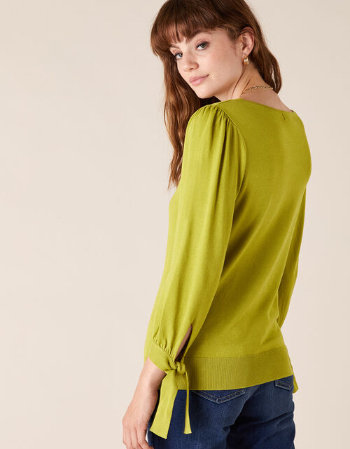 Tie Cuff Knit Jumper with LENZING™ ECOVERO™, BRIGHT GREEN, large
