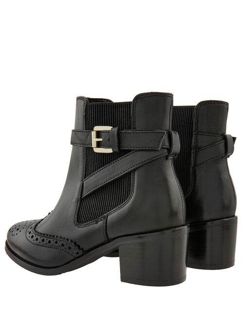 Beryl Brogue Buckle Leather Boots, Black (BLACK), large