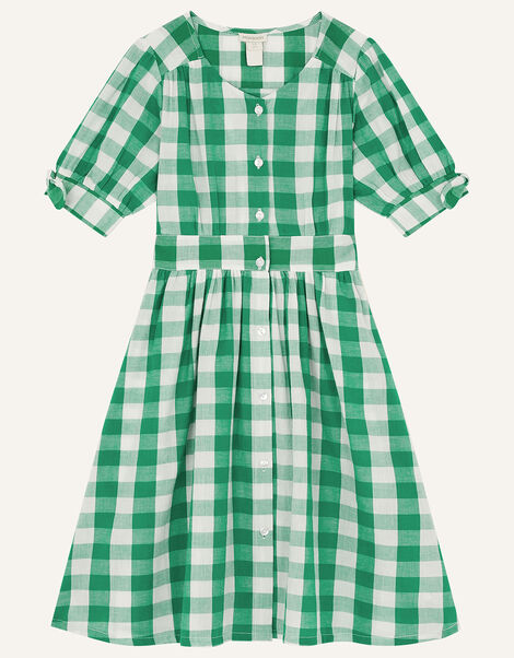 MINI ME Amina Gingham Dress Green, Green (GREEN), large