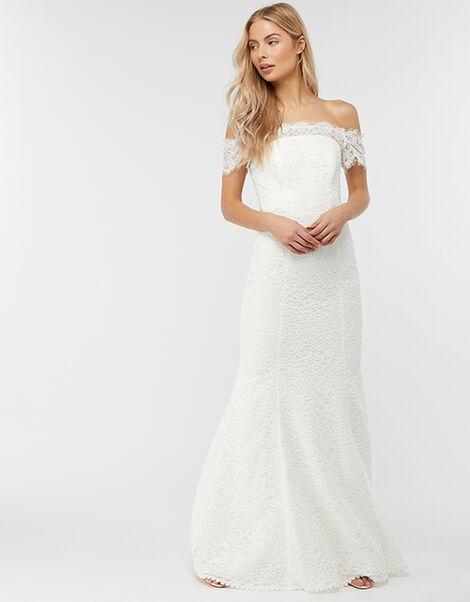 Sophie Lace Bardot Maxi Wedding Dress Ivory, Ivory (IVORY), large