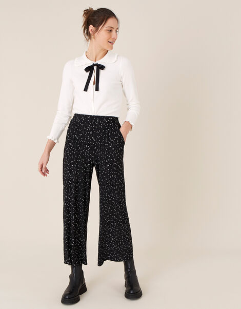 Poppy Spot Print Plisse Trousers Black, Black (BLACK), large