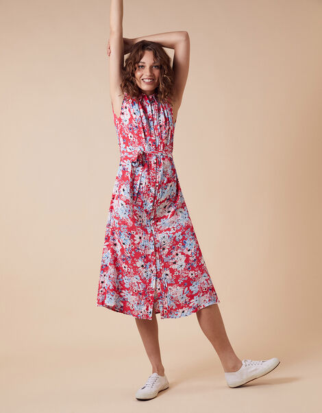 Floral Print Shirt Dress with LENZING™ ECOVERO™ Red, Red (RED), large