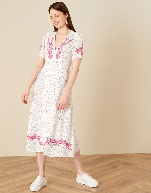 Embroidered Spot Button Midi Dress , Ivory (IVORY), large