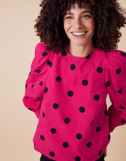 Candi Spot Print Top, Pink (PINK), large