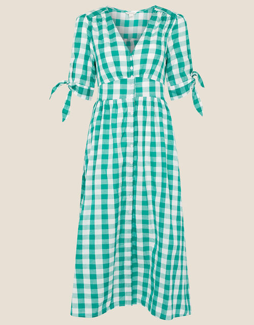 Amina Gingham Print Dress, Green (GREEN), large