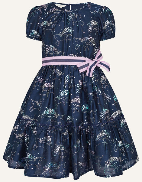 Jumping Rainbow Dress Navy Teal, Teal (TEAL), large