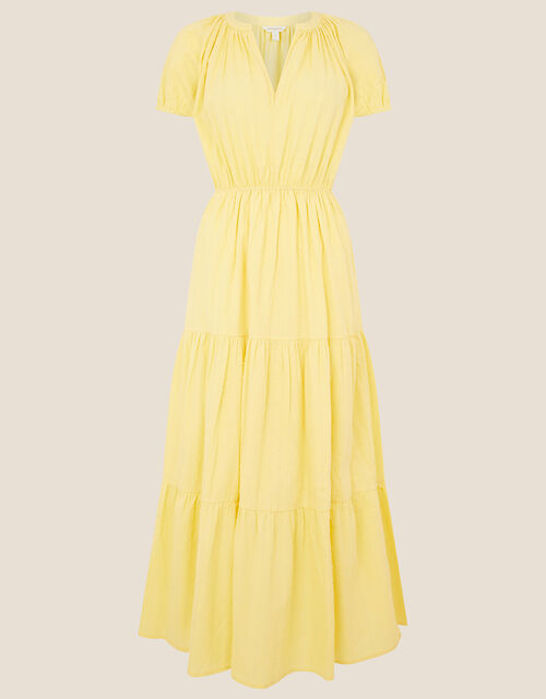 Tiered Midi Dress in Pure Cotton, Yellow (YELLOW), large