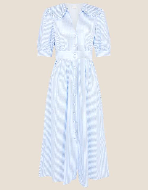 Frill Collar Stripe Poplin Dress, Blue (BLUE), large