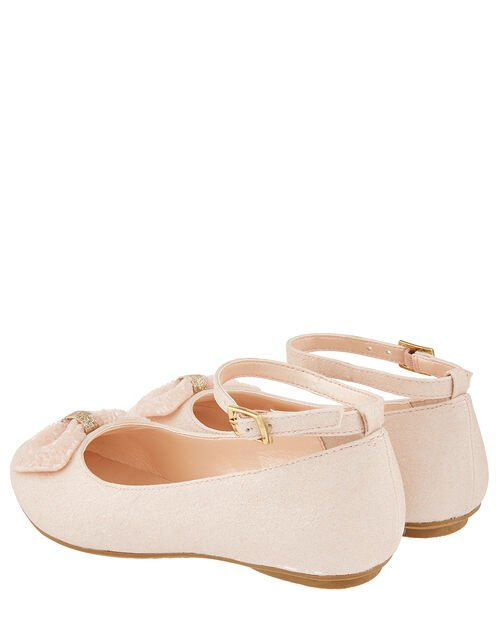 Megan Shimmer Ballerina Shoes with Beaded Bow, Pink (PALE PINK), large