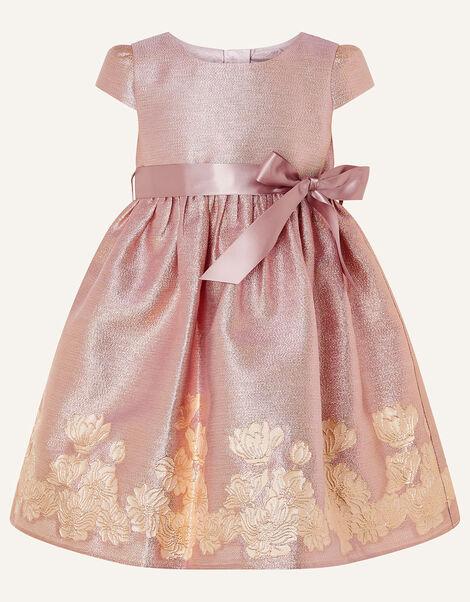 Baby Bordered Jacquard Dress  Pink, Pink (PINK), large