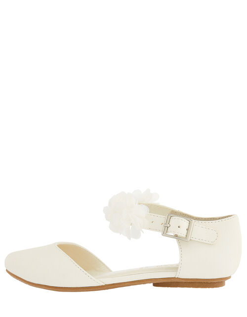Corsage Two-Part Flat Shoes, Ivory (IVORY), large