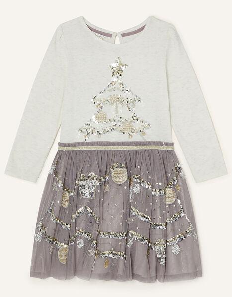 Christmas Tree Disco Dress Grey, Grey (GREY), large