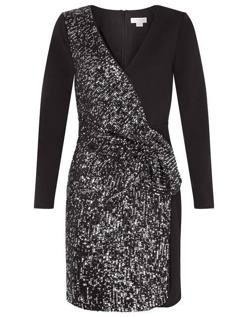 Ava Sequin Stretch Wrap Dress, Black (BLACK), large