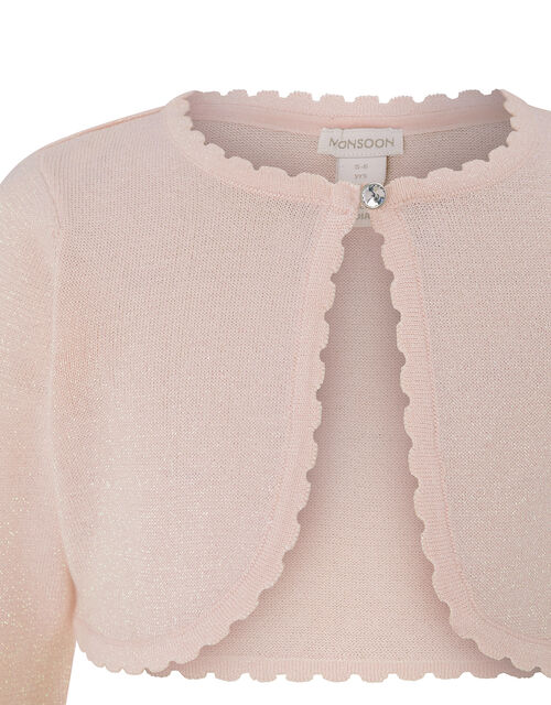 Niamh Sparkle Knit Cardigan with Crystal Button, Pink (PINK), large