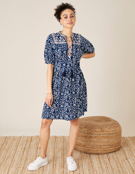 Batik Print Dress with Organic Cotton Blue, Blue (BLUE), large