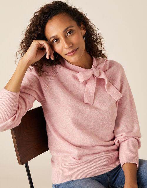 Tie Neck Knit Jumper, Pink (BLUSH), large