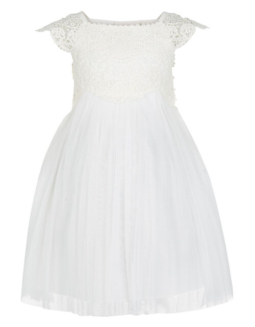 Baby Estella Lace Bodice Occasion Dress, Ivory (IVORY), large