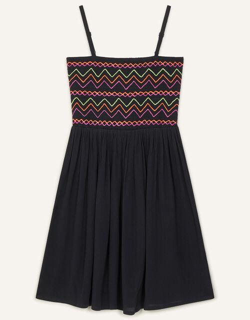 Neon Embroidered Shirred Sundress, Black (BLACK), large