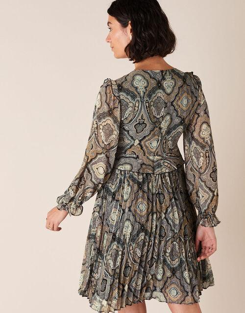 Geometric Print Pleated Dress, Grey (GREY), large