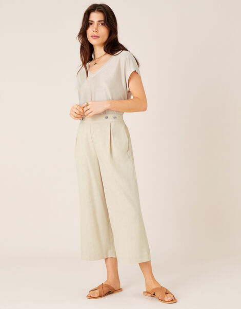 Cropped Trousers in Linen Blend Natural, Natural (NATURAL), large