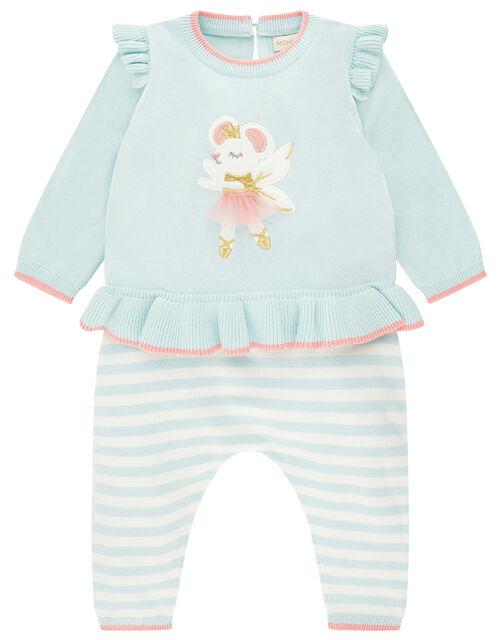 Newborn Baby Ballerina Mouse Knit Set, Blue (AQUA), large