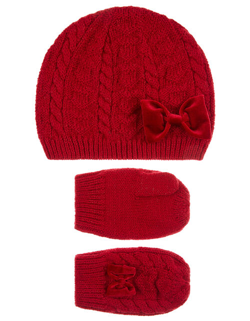 Baby Ruby Bow Beanie and Mittens Set, Red (RED), large