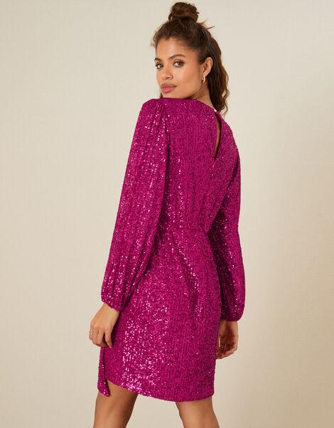 Sasha Sequin Shift Dress Pink, Pink (PINK), large