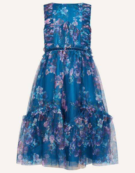 Floral Ruffle Tulle Maxi Dress Teal, Teal (TEAL), large