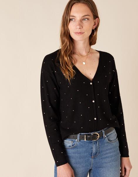 Hotfix Gem Knit Cardigan with Sustainable Viscose Black, Black (BLACK), large