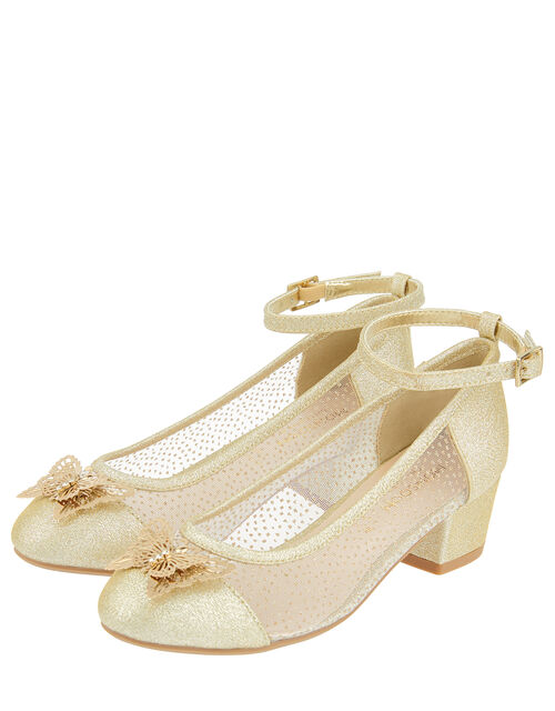Butterfly Princess Sparkle Heeled Shoes, Gold (GOLD), large
