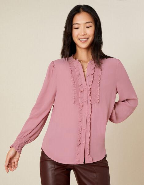 Liliana Frill Long Sleeve Blouse Pink, Pink (BLUSH), large