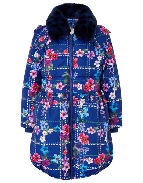 Floral Check Padded Coat in Recycled Fabric Blue, Blue (NAVY), large