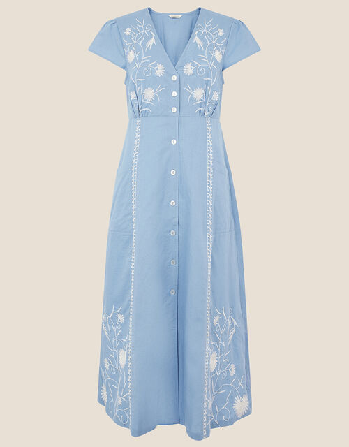 Embroidered Midi Dress in Linen Blend, Blue (BLUE), large