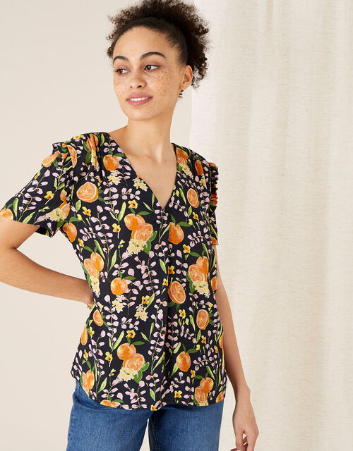 Orange Print Ruffle Sleeve Top, Blue (NAVY), large
