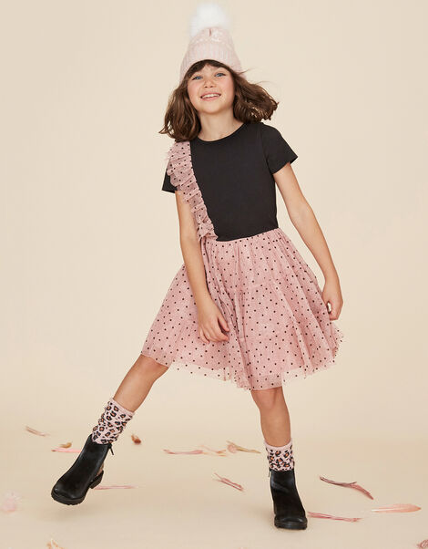 Disco Flock Spot 2-in-1 Dress Pink, Pink (PINK), large