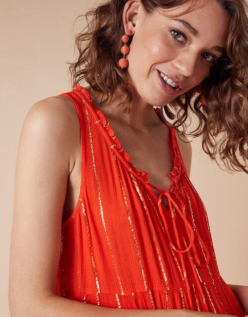Metallic Stripe Maxi Dress with Sustainable Viscose, Orange (CORAL), large