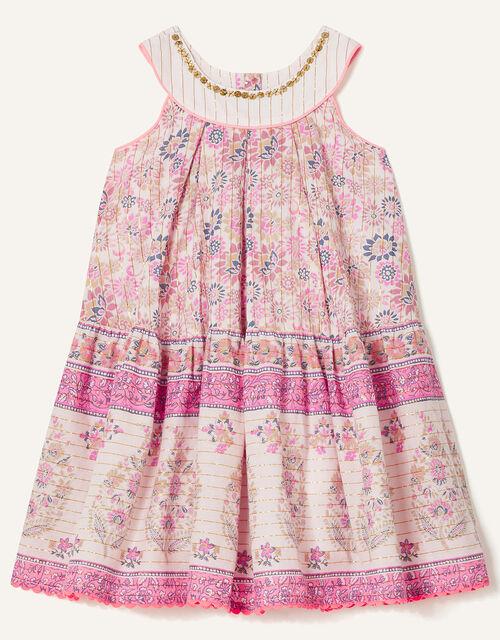 Baby Woodblock Print Dress, Purple (LILAC), large