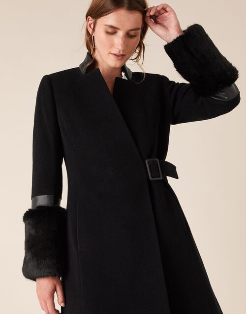 Faux Fur Cuff Maxi Coat in Wool Blend, Black (BLACK), large