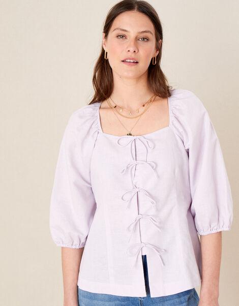 Tie Front Blouse in Linen Blend Purple, Purple (LILAC), large