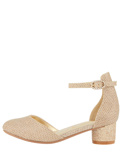 Shimmer Two-Part Heeled Shoes, Gold (GOLD), large