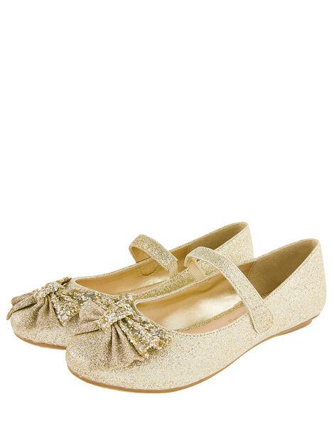 Glitter Bow Ballerina Flats Gold, Gold (GOLD), large