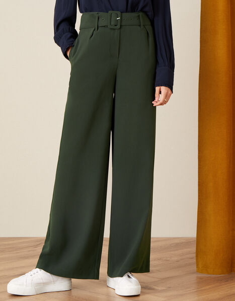 Whitney High Waisted Wide Leg Trousers Green, Green (KHAKI), large