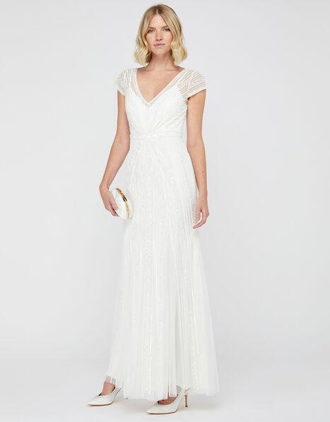 Nora Embellished Fishtail Bridal Dress Ivory, Ivory (IVORY), large