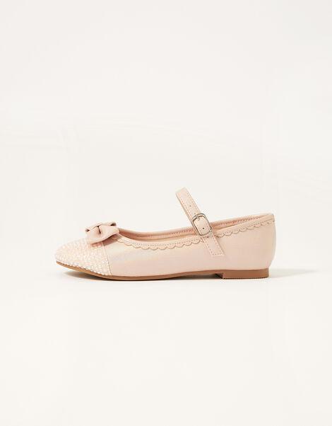 Shimmer Toe Bow Ballerina Flats Pink, Pink (PINK), large