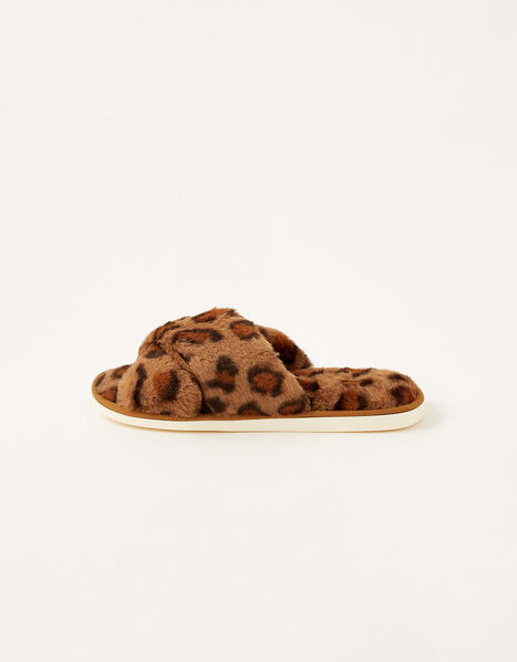 Animal Faux Fur Slippers Brown, Brown (BROWN), large