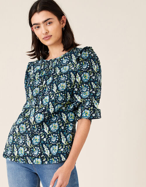 ARTISAN STUDIO Floral Woodblock Print Top, Blue (BLUE), large