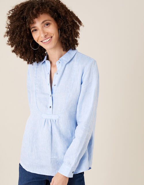 Dobby Shirt in Pure Linen, Blue (BLUE), large