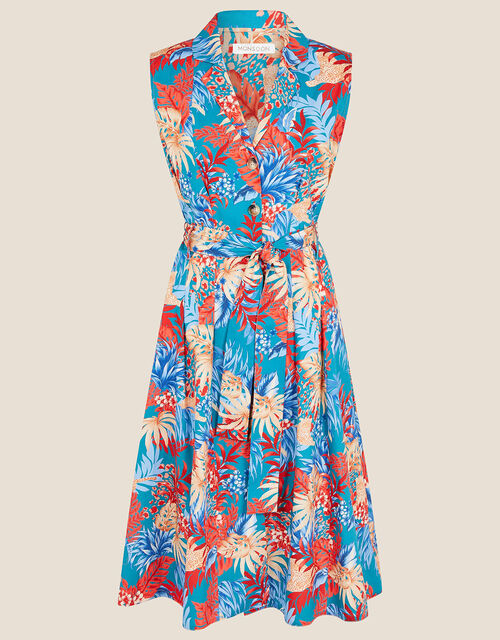 Floral Poplin Midi Dress, Teal (TEAL), large